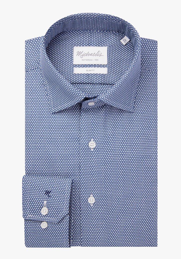 Chemise bleu foncé à motif blanc – slim fit