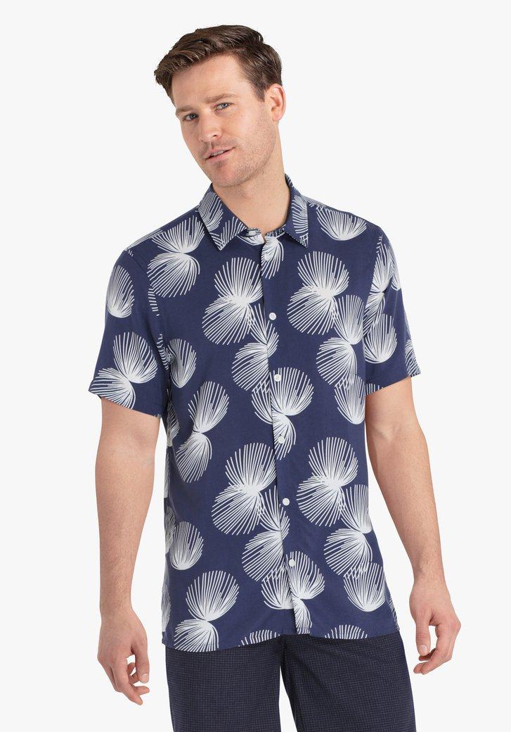Chemise bleu marine à imprimé blanc