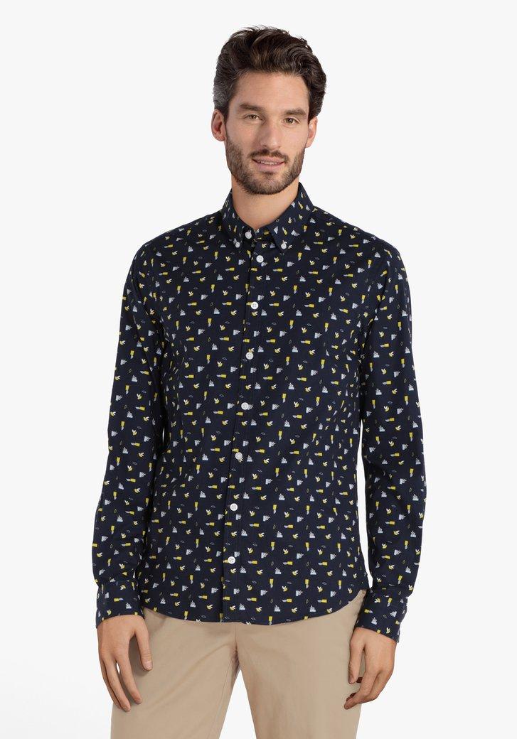 Chemise bleu marine à imprimé jaune - regular fit