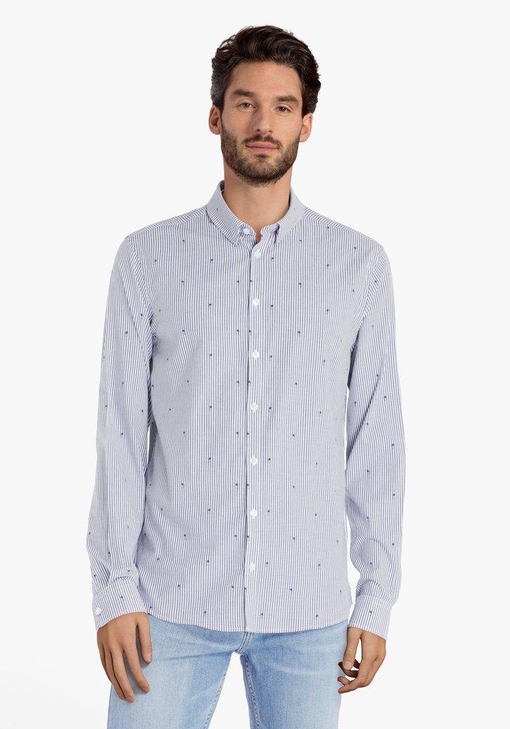 Chemise bleu marine à rayures & palmiers -slim fit