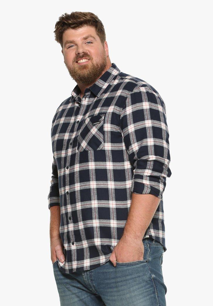 Chemise bleue à carreaux avec des accents rouges