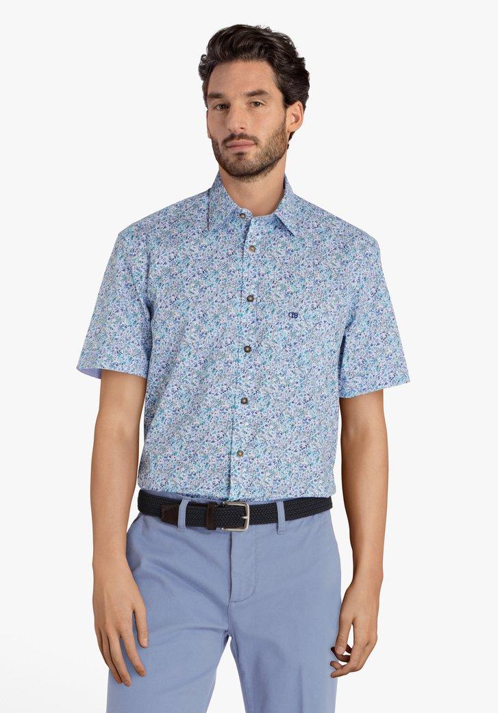 Chemise bleue à motif fleurs fines - comfort fit