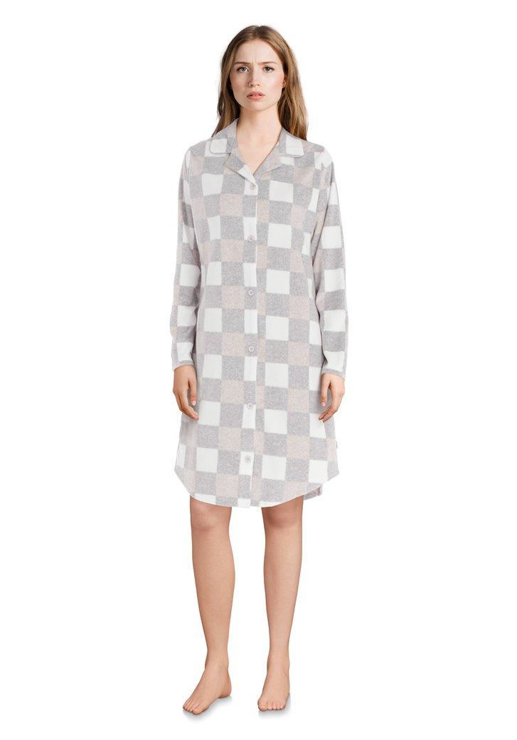 Chemise de nuit gris pâle à carreaux