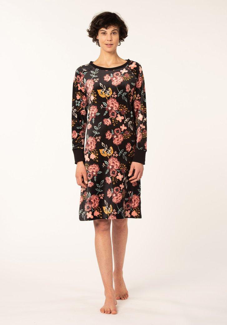 Chemise de nuit noire à fleurs