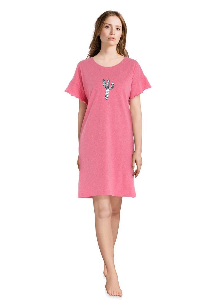 Chemise de nuit rose avec cactus