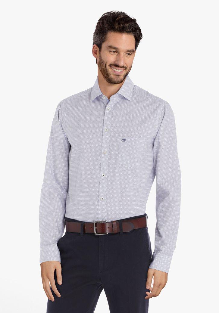 Chemise écru à carreaux bleu marine – regular fit