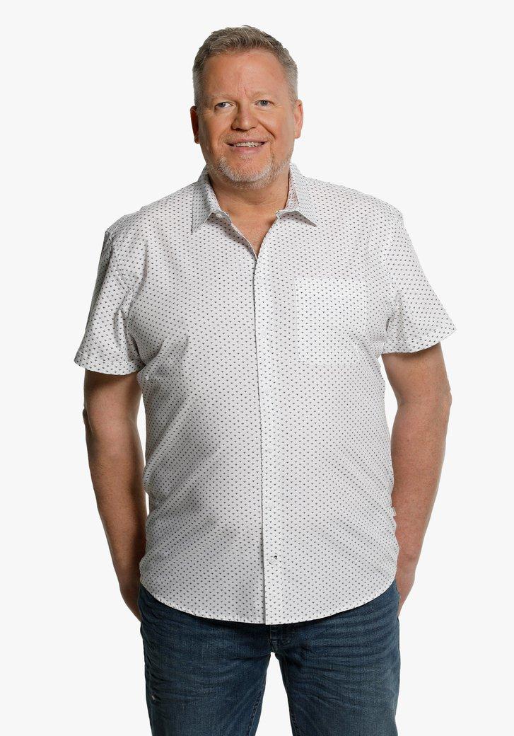 Chemise en coton blanc à petit imprimé bleu
