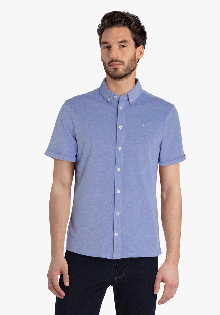 Chemise en coton bleu clair à manches courtes