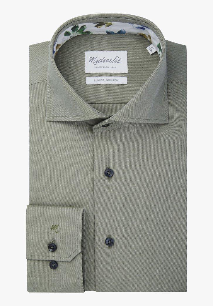 Chemise kaki à fines rayures - slim fit