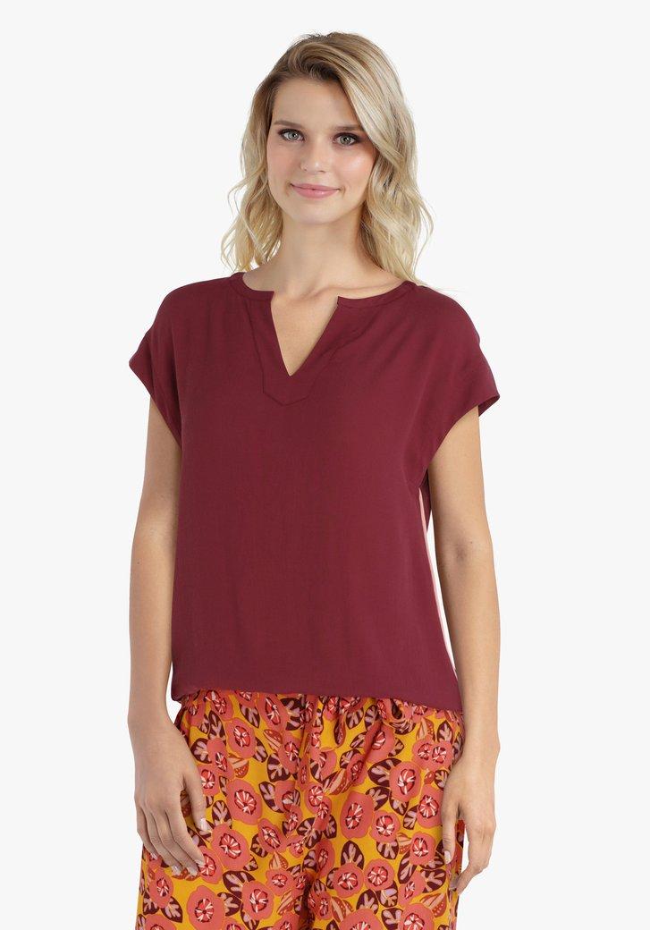 Chocoladebruine blouse met V-hals