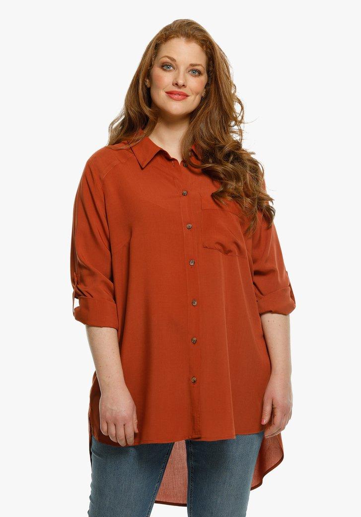 Chocoladebruine lange blouse