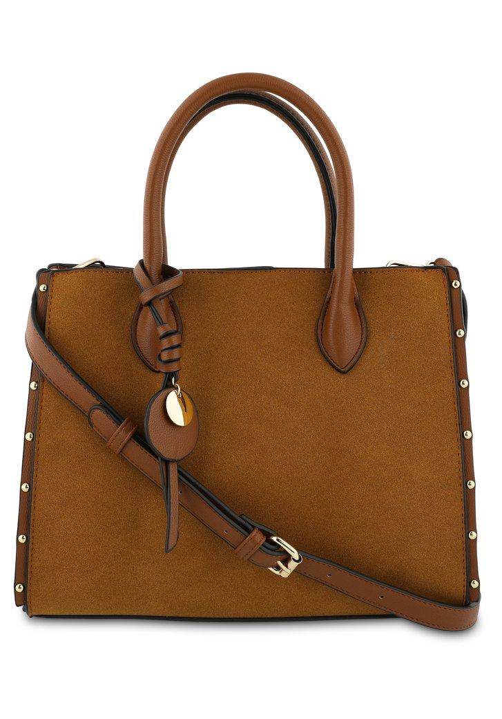 Afbeelding van Cognac handtas met goudkleurige details