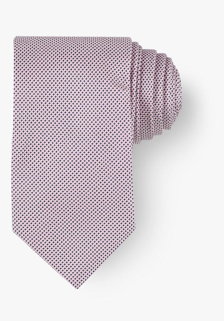Cravate avec motif miniature en rose et bleu