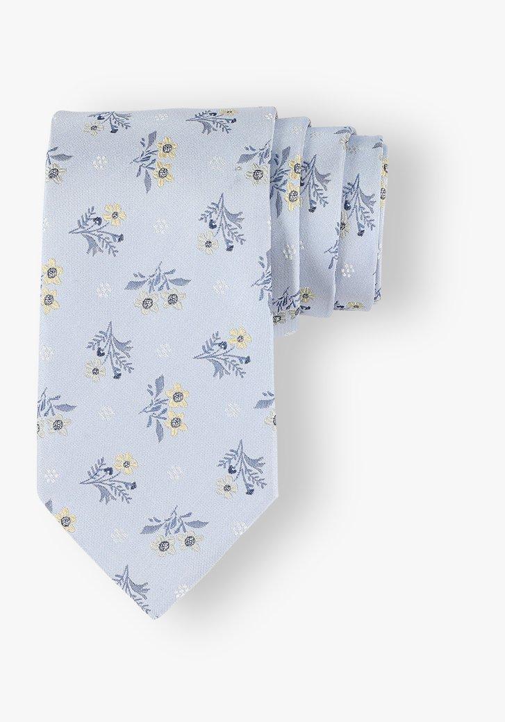 Cravate bleu clair à fleurs grises et jaunes