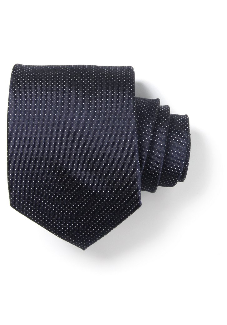 Cravate bleu marine avec fin motif pointillé