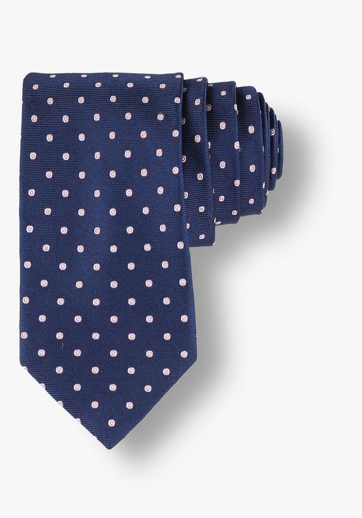 Cravate bleue en soie à pois roses