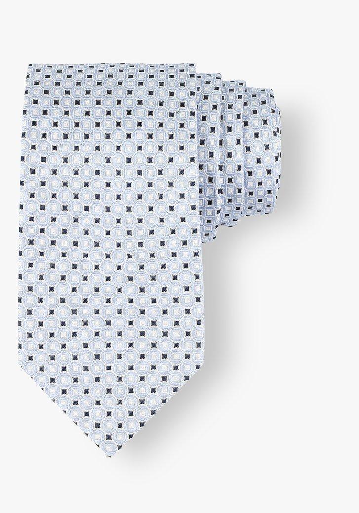 Cravate bleue en soie avec motif graphique
