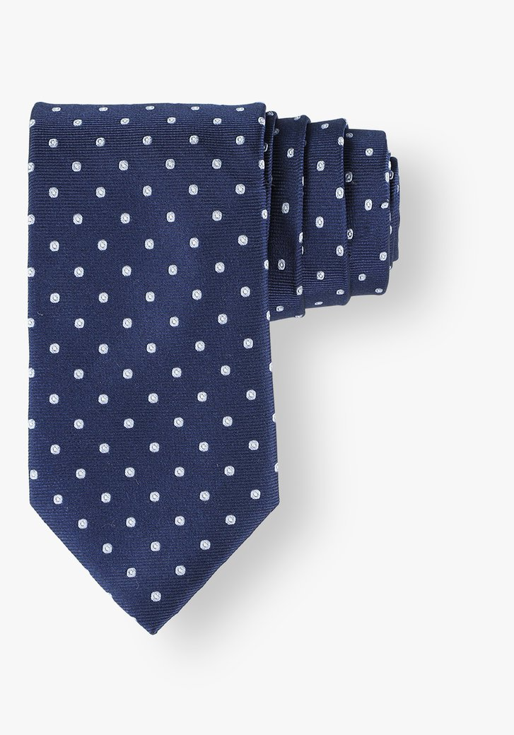 Cravate en soie bleue à pois bleu clair