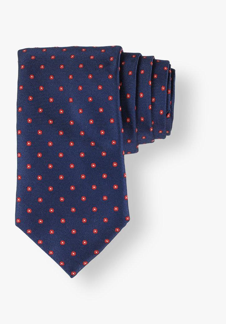 Cravate en soie bleue à pois rouges