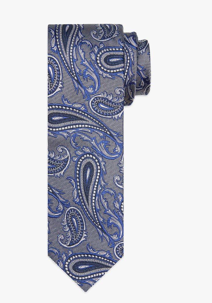 Cravate en soie grise avec motif paisley bleu