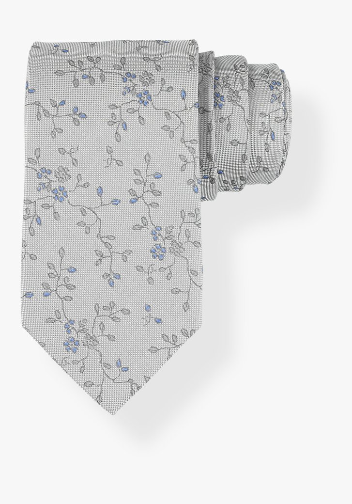 Cravate grise à fleurs