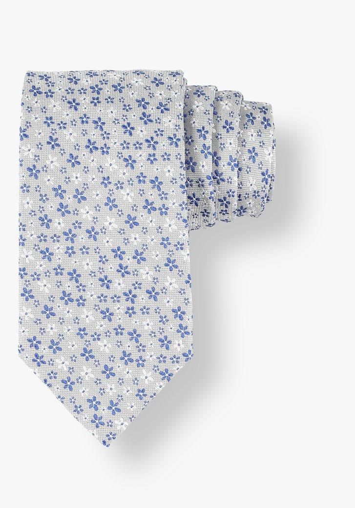 Cravate grise en soie à fleurs