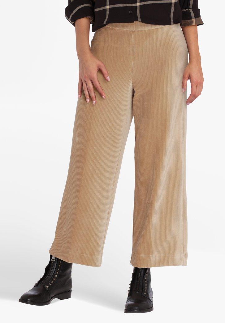 Culotte beige en velours côtelé