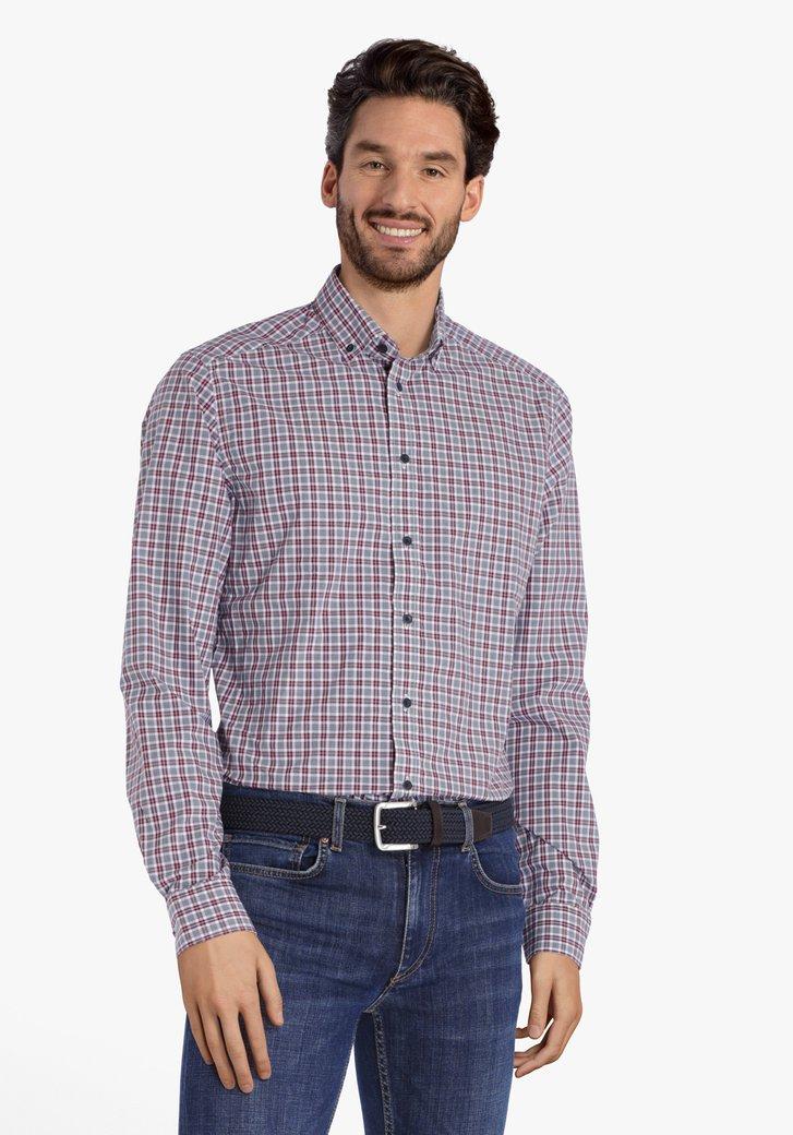 Donkerblauw-bordeaux geruit hemd - regular fit