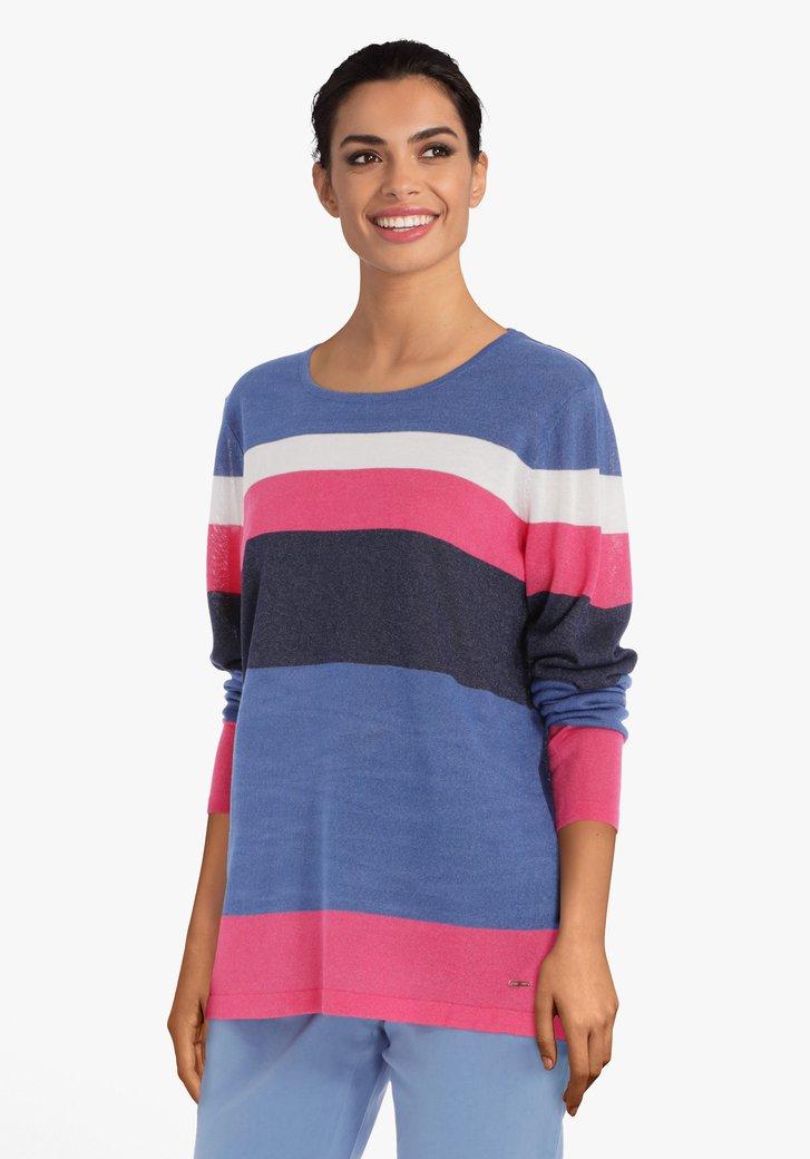Donkerblauw en roze pull