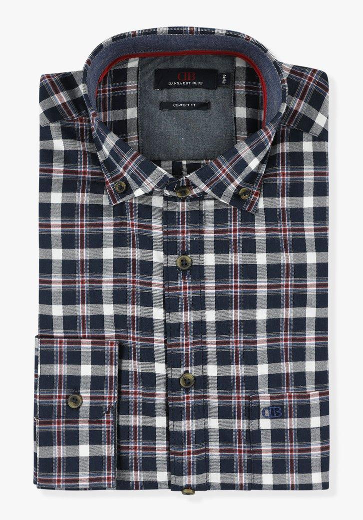 Donkerblauw geruit hemd - comfort fit