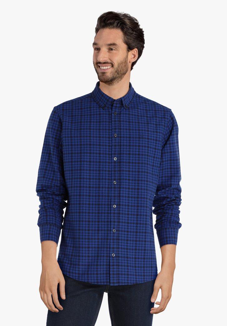 Donkerblauw geruit hemd - regular fit