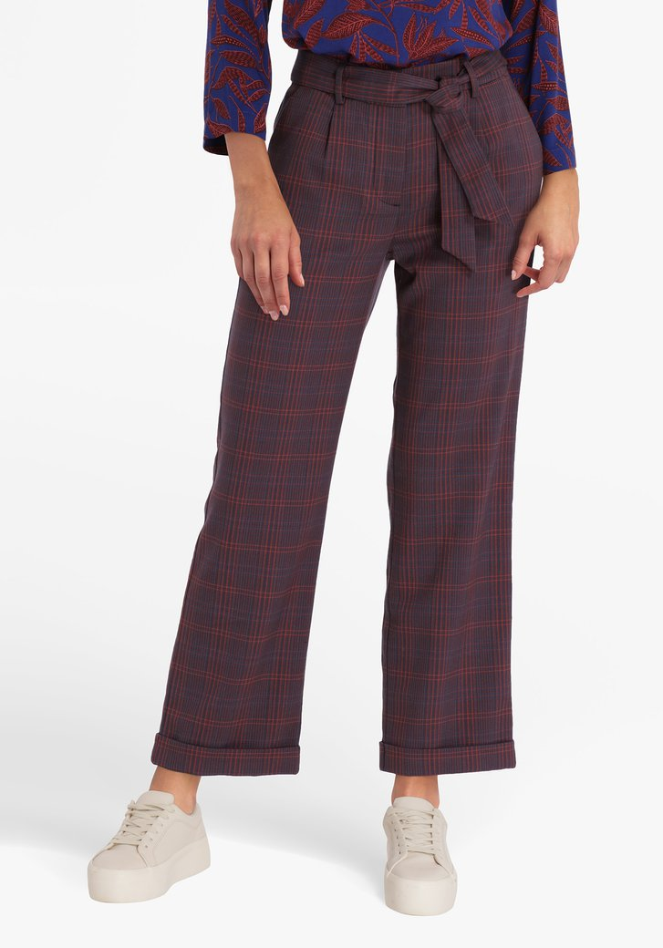 Donkerblauw geruite broek