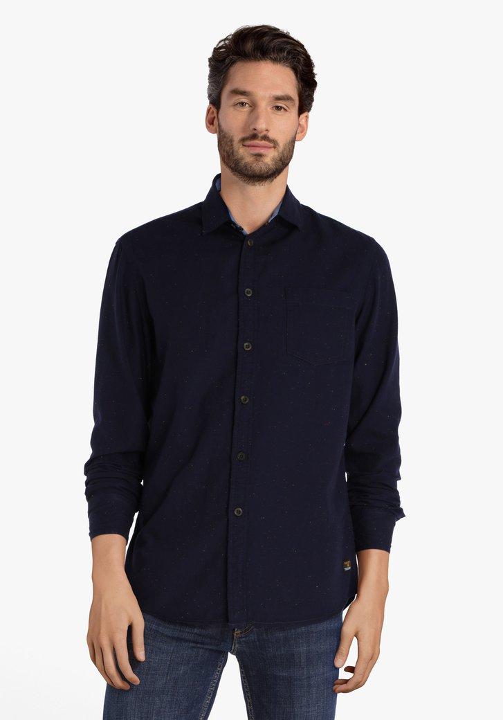 Donkerblauw gespikkeld hemd