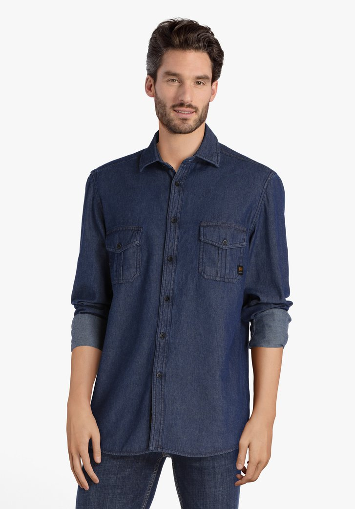 Donkerblauw hemd in jeanslook - regular fit