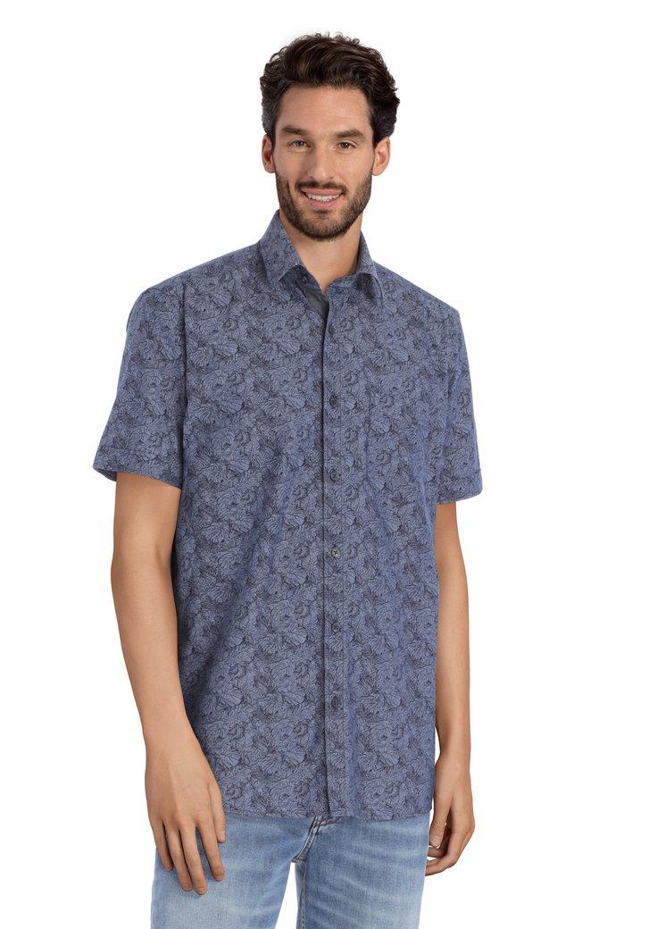 Donkerblauw hemd met bladerprint - regular fit