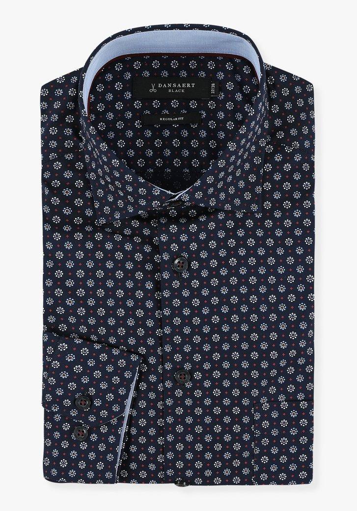 Donkerblauw hemd met bloemen - regular fit