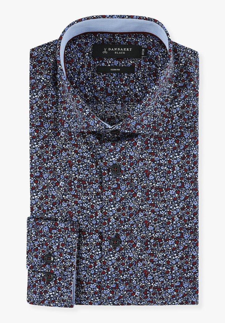 Donkerblauw hemd met bloemen - slim fit