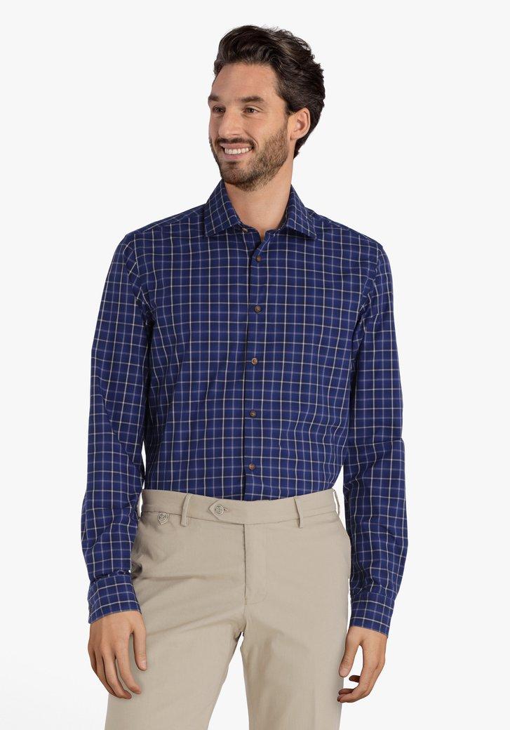 Donkerblauw hemd met blokjes – slim fit