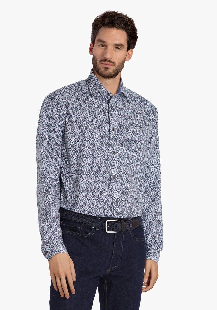 Donkerblauw hemd met bolletjes - comfort fit