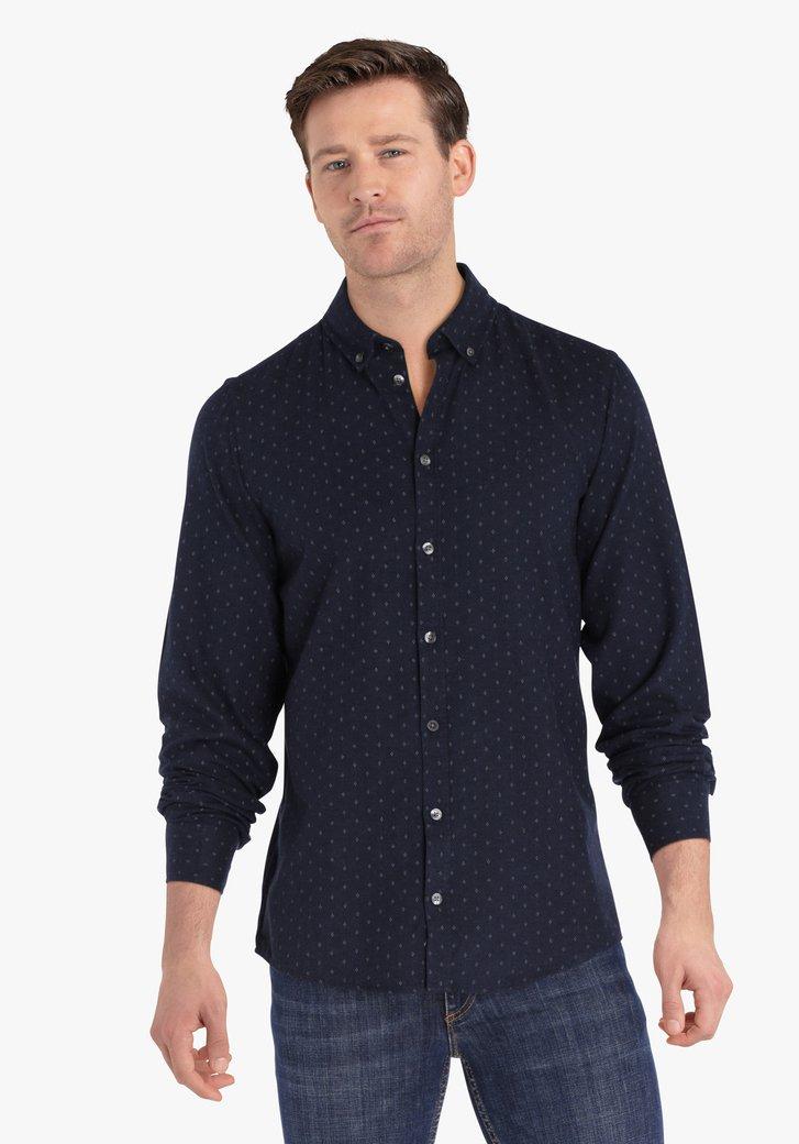 Donkerblauw hemd met kleine print - regular fit
