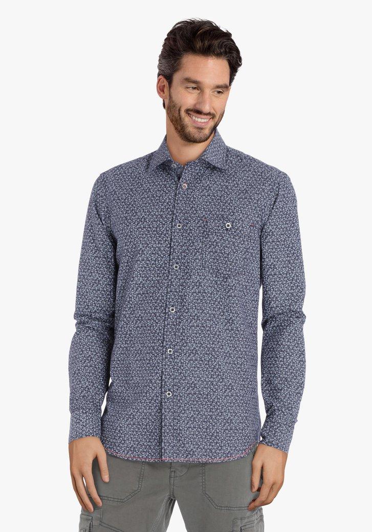 Donkerblauw hemd met print – regular fit