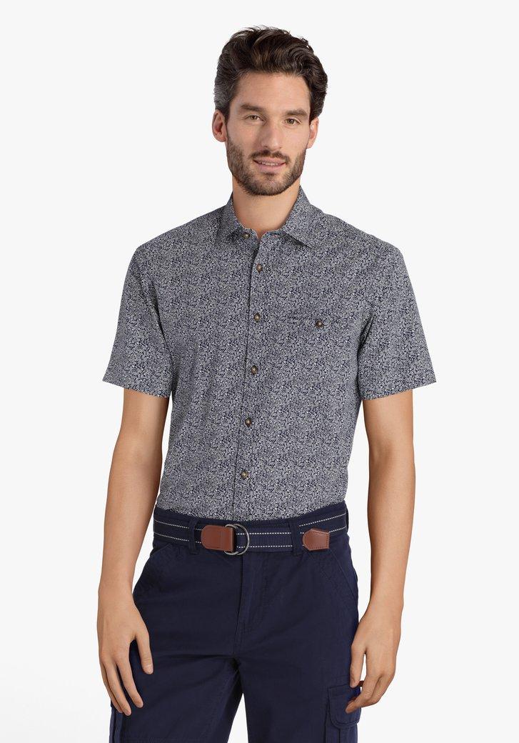 Donkerblauw hemd met witte bloemen – regular fit