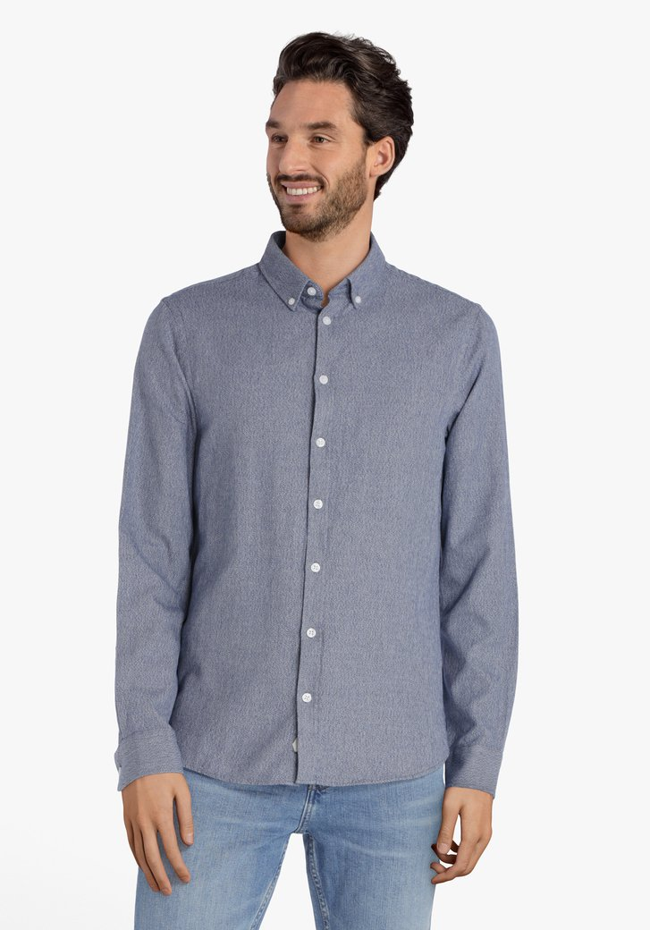 Donkerblauw hemd met witte spikkel – regular fit