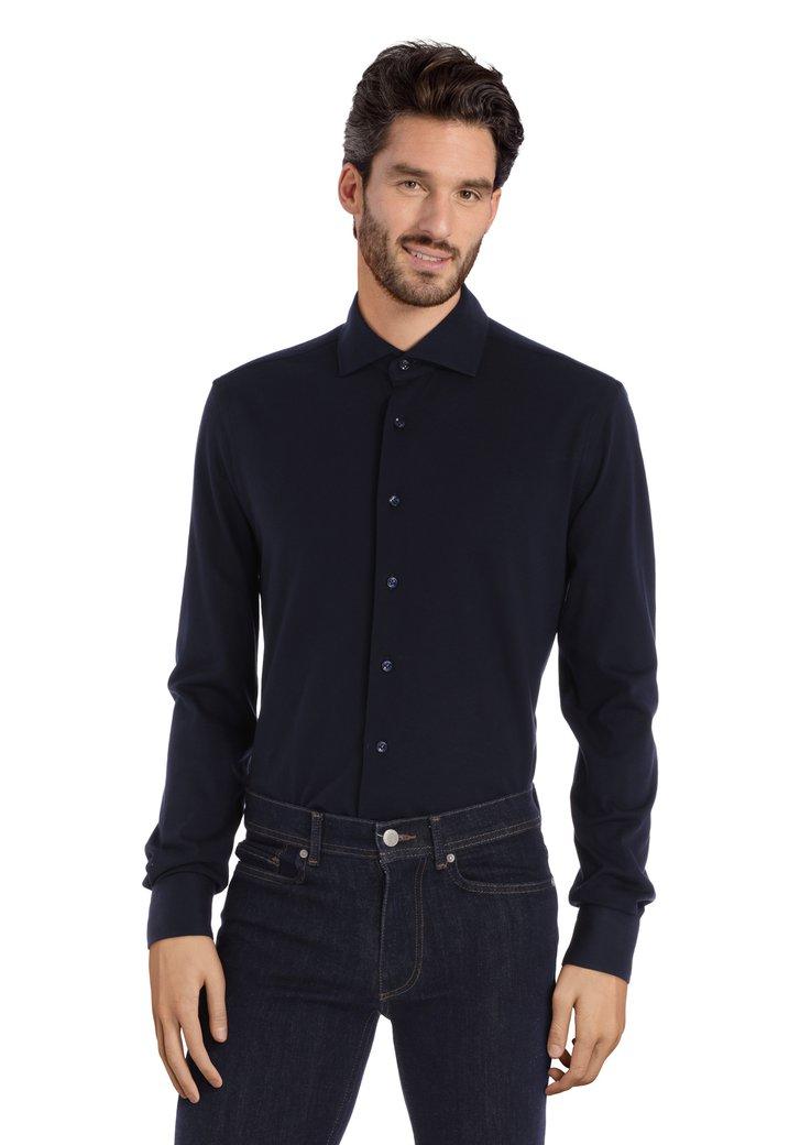 Afbeelding van Donkerblauw katoenen shirt - slim fit