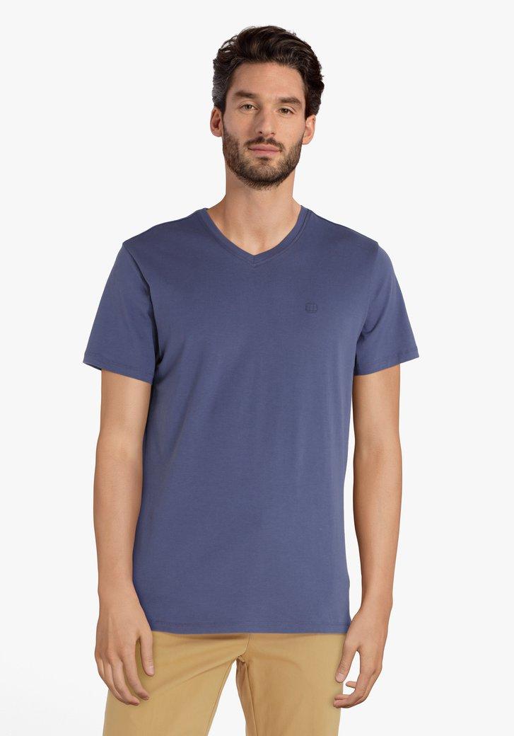 Donkerblauw katoenen T-shirt met V-hals