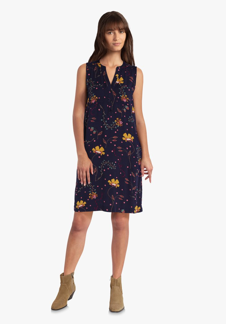 Donkerblauw kleed met bloemenprint