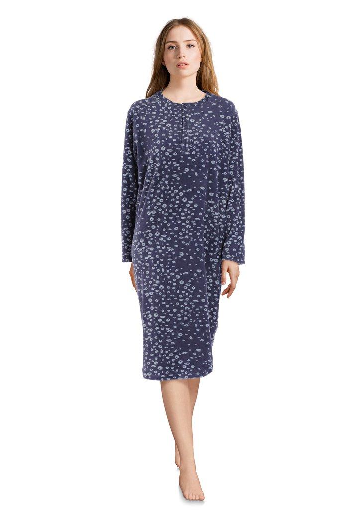 Afbeelding van Donkerblauw nachthemd met lichtblauwe print