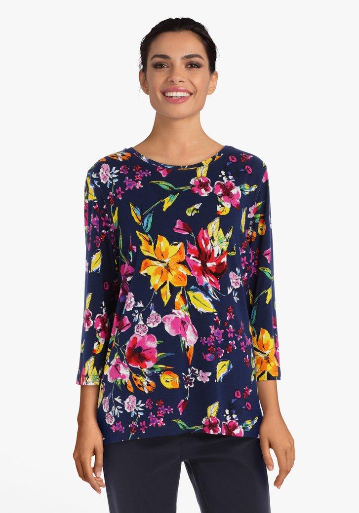 Donkerblauw T-shirt met bloemen