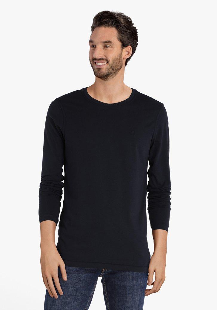 Donkerblauw T-shirt met lange mouwen