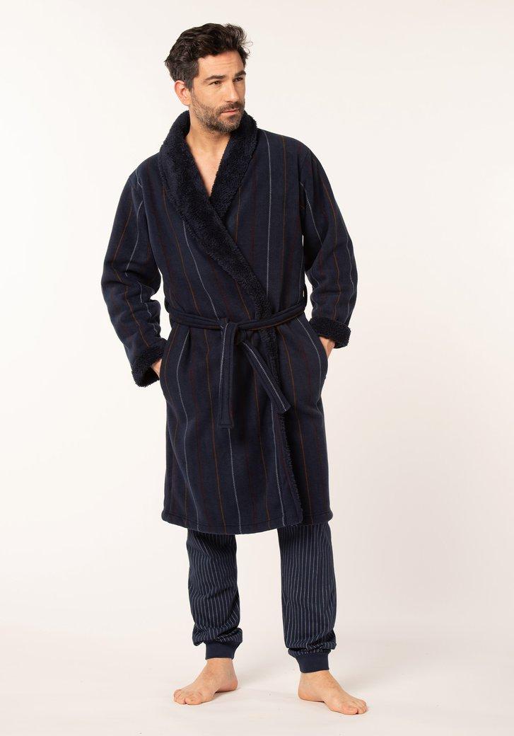 Donkerblauwe badjas met strepen